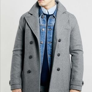 Topman Double Breasted Wool Blend Gray Pea Coat